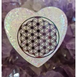 Orgonite cœur fleur de vie 002