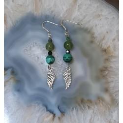 Boucles d'oreilles Ange vert